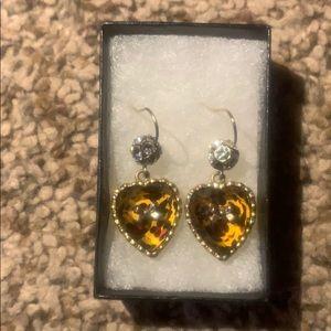 Juicy Couture Leopard print heart earrings